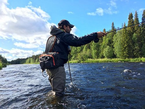 Stefano in Finnish Lapland, a fly fisherman paradise.