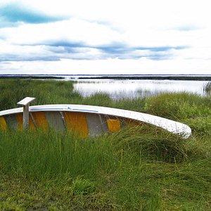 Canoe at Rochon Sands Provincial Park.