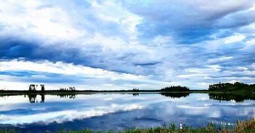 View of the sunset at Pimicikamak Cree Nation aka Cross Lake, Manitoba