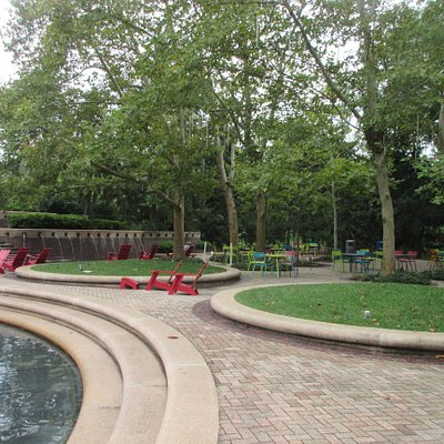 Benches and space to enjoy the water