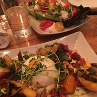Burrata with Grilled Peaches and Grilled Wedge Salad
