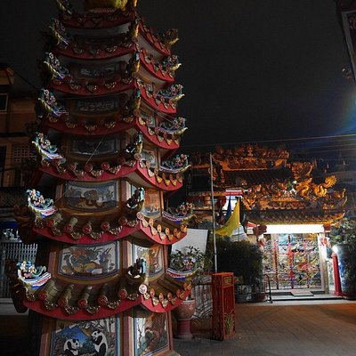 Chinese temple at night.
