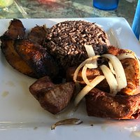 09-26-17 Cubed pork, plantains, and rice. The plantains were excellent.