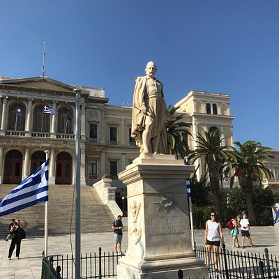 Statue of Admiral Andreas Vokos who commanded Greek naval forces during the Greek War of Indepen