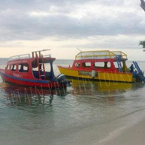 Both of our glass bottom boats at No Man's Land. Power 1 and Just Fun.  Best of the Best.