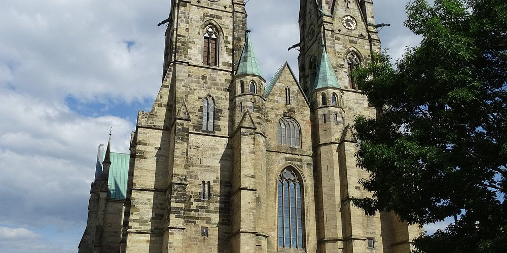 Exterior of Skara Cathedral showing twin spires.