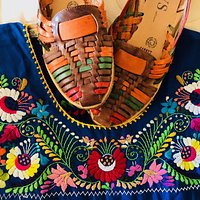 Huarache sandals and embroidered dress