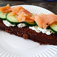 Smoked salmon open faced sandwich
