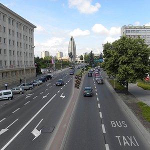widok w kierunku pomnika Czynu Rewolucyjnego