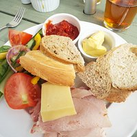 Ham and Cheddar Ploughmans lunch