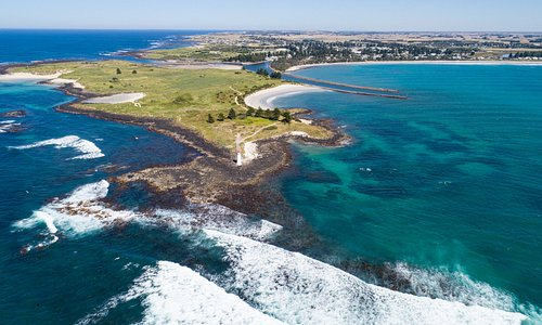 Griffiths Island Lighthouse - Port Fairy (Aerial View)