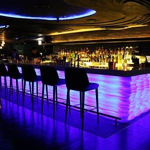 Q Bar luminated at night