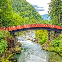 The Shinkyo bridge is at the entrance to the UNESCO heritage listed temples and shrines of Nikko.  During summer when everything is so green and the river is flowing it's especially striking.