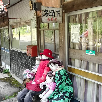 Scarecrows at bus stop