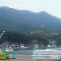 港から山を望む