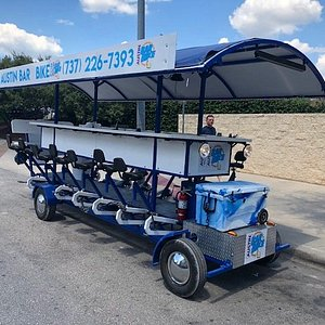 Austin Bar Bike holds 15 people while bar hopping around town with your friends drinking beer.
