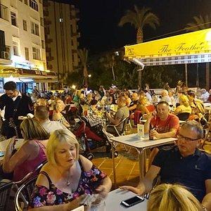 A busy evening in Bonanza Square.