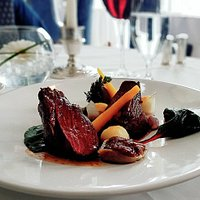 Buccleuch Beef Fillet, Braised Oxtail, Texture of Onion, Madeira Sauce