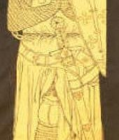 Hand made silk screen print, copied from rubbing of the brass of Sir Roger de Trumpington
