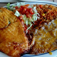 Chile relleno, beans, rice & salad