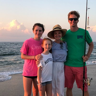 Surfcasting and appetizers at sunset