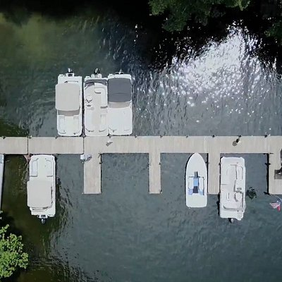 Arial view of the boat dock.