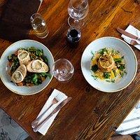 Salade de chèvre chaud and our famous Fish Cakes