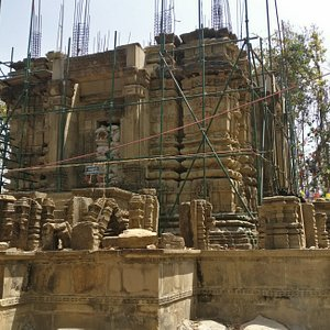 A very beautiful and artistic buddhist temple in ruins in the middle of the forest in the Surkhe