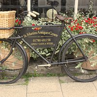 Our bicyclce advertising St Martins Antiques Centre