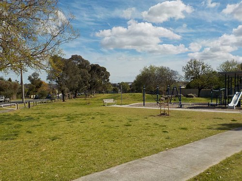 Paths and grassland by the playground