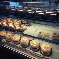 Carrot cake slices, chocolate cake slices and Hokkaido round cakes.