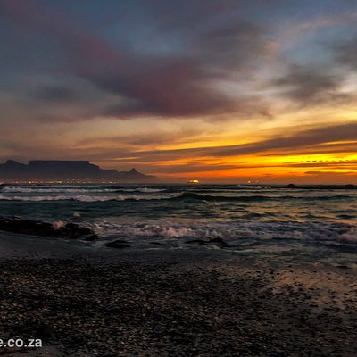 Roadie sunset from Big Bay with Table Mountain