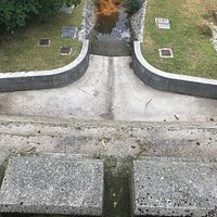 Looking down onto the spillway from the top of the dam