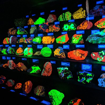 Glowing rocks - get to see some in the mine as well