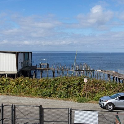 View of the old wharf, pier and building.