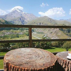Morning coffee in Kazbegi