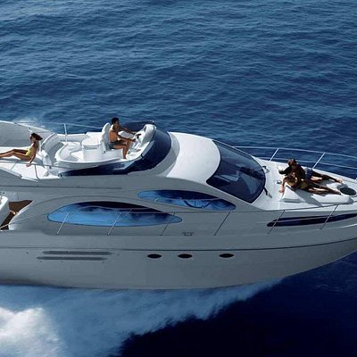 Modern motor yacht with fly bridge. 11 guest maximum