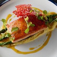 Salmon con polenta