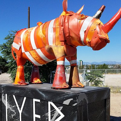 RiNo Rhino Made of Traffic Safety Cones and Barrels