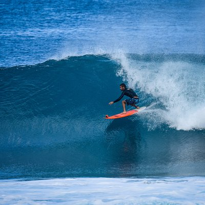 Surfing the barrel at Pipeline, HI.