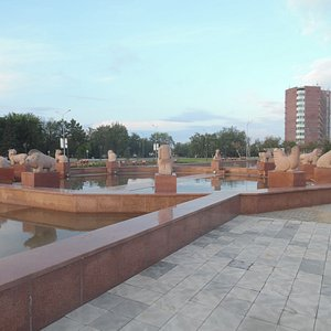 fountain with animal sculptures