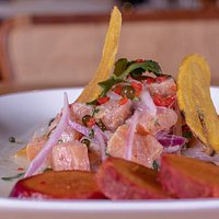 Trout Ceviche, marinated in lime juice and spices.