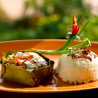Traditional fish amok with coconut milk