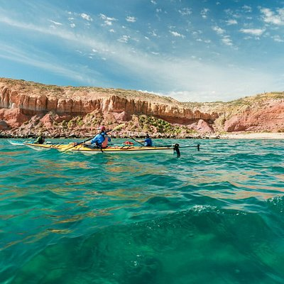 Paddling the Sea of Cortez in Single and Double Kayaks.
