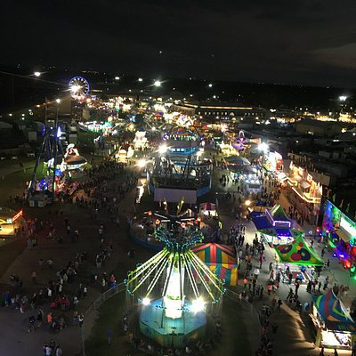 A ferris wheel view of the midway.