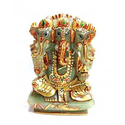 3 Head Lord Ganesha (Elephant Head God) carved in Natural Serpantine