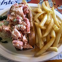 Lobster Roll and fries and cole slaw