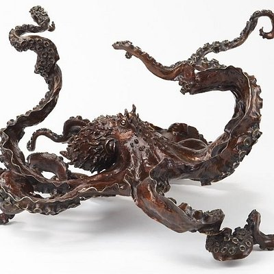 'CEPHALOPOD' bronze octopus sculpture or glass top table base versions are available.