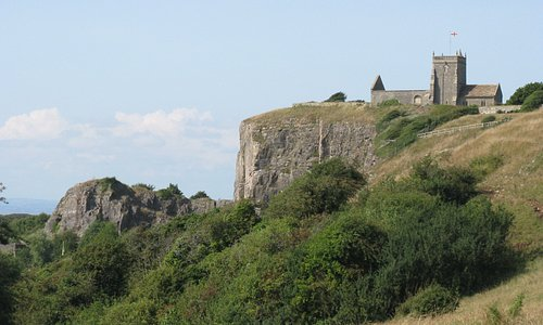 Uphill Church seen from the Brean Down Way cycle path.