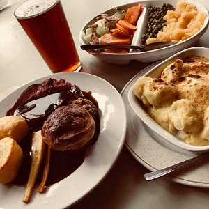 Sunday lunch with a pint of locally brewed real ale